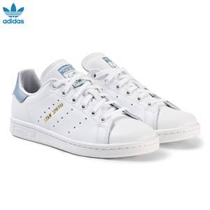 adidas Originals Unisex Sneakers White White and Blue Junior Stan Smith Trainers