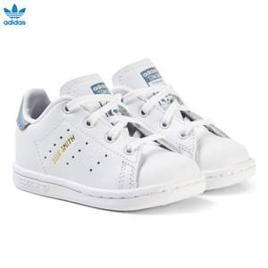 adidas Originals Unisex Sneakers White White and Blue Infants Stan Smith Trainers