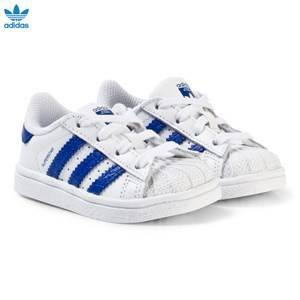 adidas Originals Unisex Sneakers White White and Blue Infants Superstar Trainers