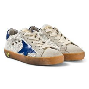 Golden Goose Boys Sneakers White White and Blue Star Print Superstar Sneakers