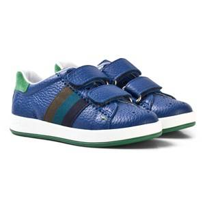 Paul Smith Junior Boys Sneakers Blue Blue Leather Double Velcro Strap Trainers
