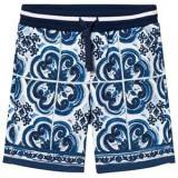 Dolce & Gabbana Boys Shorts Blue Sweat Shorts in Printed Cotton Blue