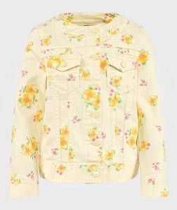 United Colors of Benetton Girls Childrens Clothes Coats and jackets Yellow Floral Denim Jacket Lemon