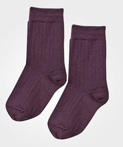 Lillelam Girls Childrens Clothes Underwear Purple Two Pack Wool Socks Plum