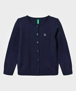 United Colors of Benetton Girls Childrens Clothes Jumpers and knitwear Navy Knitted Cardigan With Sparkling Logo Navy