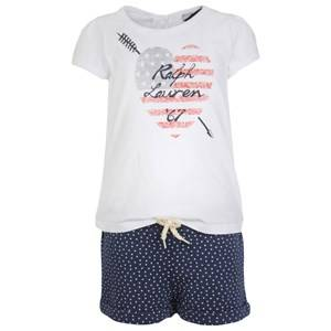 Image of Ralph Lauren Girls Childrens Clothes Jumpsuits & Sets White Graphic Tee & Star Shorts Set White