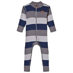 Voksi Unisex Childrens Clothes All in ones Blue Wool Rib One-Piece Petrol