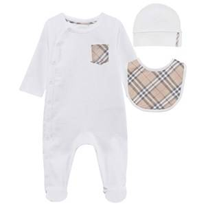 Burberry Unisex Childrens Clothes All in ones White Check Cotton Three-Piece Baby Gift Set