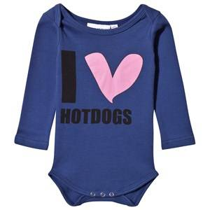 Gardner and the gang Unisex Childrens Clothes All in ones Navy I Love Hot Dogs Baby Body Blue