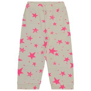 Noe & Zoe Berlin Unisex Childrens Clothes Nightwear White PJ Pants Neon Pink Stars