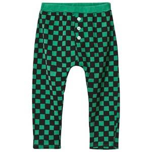 Bobo Choses Unisex Childrens Clothes Bottoms Green Baby Tracksuit Pants Checked Deep Green