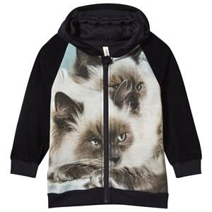 Popupshop Unisex Childrens Clothes Jumpers and knitwear Black Hoodie with Zipper Siamese Cat