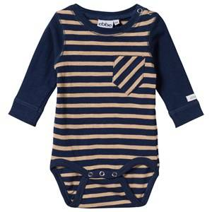eBBe Kids Unisex Childrens Clothes All in ones White Almond Baby Body Winter Navy/Sand Stripe