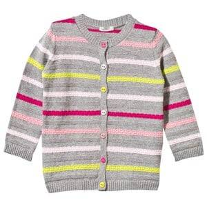 United Colors of Benetton Unisex Childrens Clothes Jumpers and knitwear Grey Knitted Striped Cardigan Grey