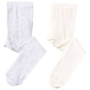 United Colors of Benetton Unisex Childrens Clothes Underwear White Baby Tights 2-Pack White/Grey White