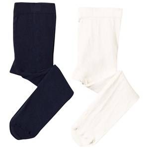 United Colors of Benetton Unisex Childrens Clothes Underwear White Baby Tights 2-Pack White/Navy