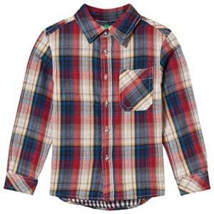 United Colors of Benetton Boys Childrens Clothes Tops Red Flannel Shirt Red