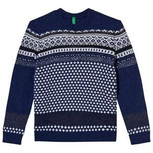 United Colors of Benetton Boys Childrens Clothes Jumpers and knitwear Navy Jacquard Knit Sweater Navy