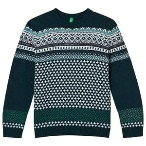 United Colors of Benetton Boys Childrens Clothes Jumpers and knitwear Green Jacquard Knit Sweater Green