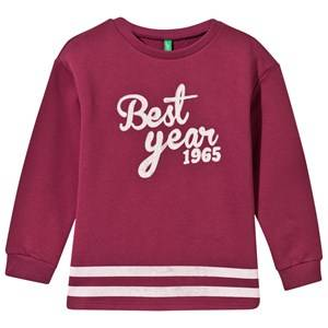 United Colors of Benetton Girls Childrens Clothes Jumpers and knitwear Pink Printed Sweater Dark Pink