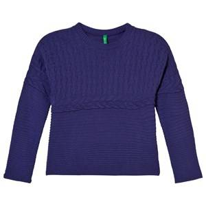 United Colors of Benetton Girls Childrens Clothes Jumpers and knitwear Purple Oversized Knit Sweater Purple