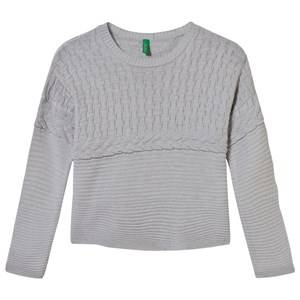 United Colors of Benetton Girls Childrens Clothes Jumpers and knitwear Grey Oversized Knit Sweater Grey