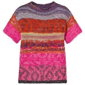 United Colors of Benetton Girls Childrens Clothes Dresses Pink Jacquard Knit Dress Pink
