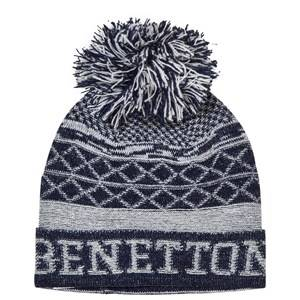 United Colors of Benetton Girls Childrens Clothes Headwear Navy Pom Pom Knit Hat Navy/White