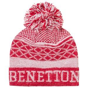 United Colors of Benetton Girls Childrens Clothes Headwear Red Pom Pom Knit Hat Red/White