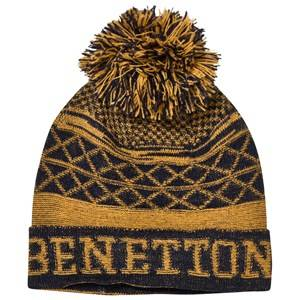 United Colors of Benetton Girls Childrens Clothes Headwear Yellow Pom Pom Knit Hat Mustard/Navy