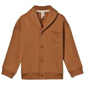 Gray Label Unisex Childrens Clothes Jumpers and knitwear Orange Shawl Collar Cardigan Red Earth