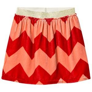 MarMar Copenhagen Girls Childrens Clothes Skirts Red Sigga Velvet Lux Skirt Coral Haze Zig Zag