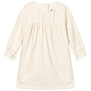 Petit Bateau Girls Childrens Clothes Dresses Blue Polka-Dots Dress Coquille White