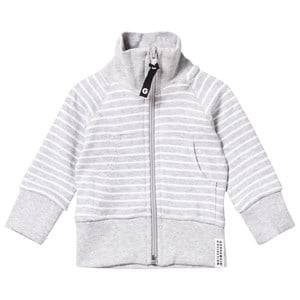 Geggamoja Unisex Childrens Clothes Jumpers and knitwear Grey Zip Sweater Classic Light Grey Mel/White