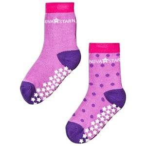 Nova Star Girls Underwear Purple 2-Pack Anti-Slip Purple Socks