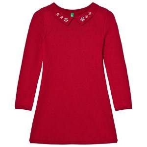United Colors of Benetton Girls Dresses Red Knit Collar Dress Red
