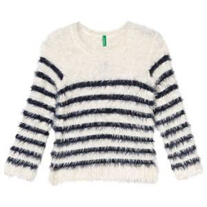 United Colors of Benetton Girls Jumpers and knitwear White Fuzzy Sweater Off White/Navy