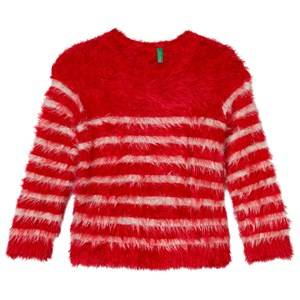 United Colors of Benetton Girls Jumpers and knitwear Red Fuzzy Sweater Red/Off White