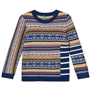 United Colors of Benetton Boys Jumpers and knitwear Navy Cotton Blend Sweater Navy Multi