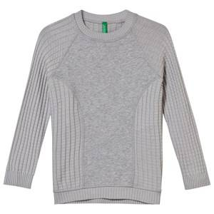 United Colors of Benetton Boys Jumpers and knitwear Grey Crewneck Sweater with Panel Grey