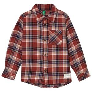 United Colors of Benetton Boys Tops Red Classic Flannel Shirt Brown Multi
