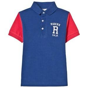 Mayoral Boys Tops Blue Blue and Coral Embroidered Polo