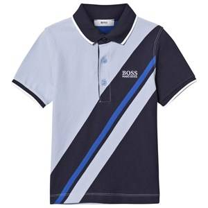 Boss Boys Tops Blue Pale Blue Stripe Branded Pique Polo