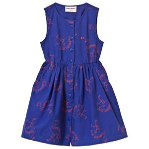 Bobo Choses Girls Dresses Blue Flamingos Shaped Dress Mazarine Blue
