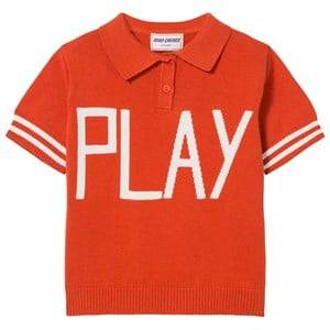 Bobo Choses Girls Tops Red Play Knit Polo Sweater Red Clay