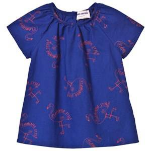 Bobo Choses Girls Dresses Blue Flamingos Baby Dress Mazarine Blue