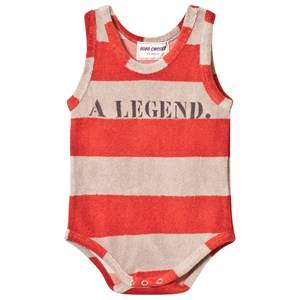 Bobo Choses Boys All in ones Red Striped Terry Body A Legend Red Clay