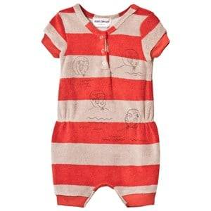 Bobo Choses Boys All in ones Red Striped Terry Jumpsuit Waterpolo Red Clay