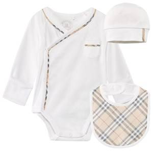 Burberry Unisex Childrens Clothes All in ones White Check Cotton Three-Piece Gift Set White