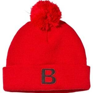 The BRAND Unisex Childrens Clothes Headwear Red Pompom Hat Red
